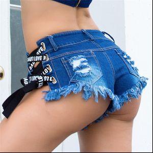 Women Shorts Jeans Womens Short Sexy Low Waist Mini Denim Ripped Hole Solid Skinny Summer Feminino Slim Bandage