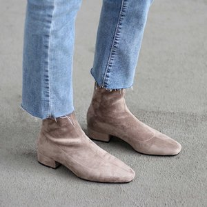 shoes Women Boots plus size stretch boots casual flock European and American boots women Pigskin lining insole
