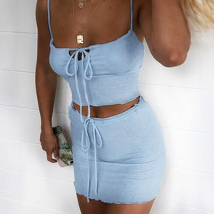 Sexy Lace Up Ruched Matching Sets Women Knitted Straps Bodycon Two 2 Piece Outfits Camis Crop Top And Skirts Co-ord Set 2020 New T200821