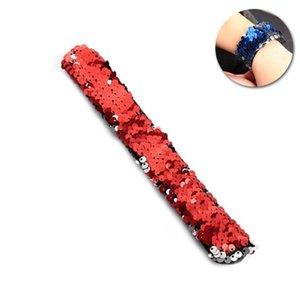 Charm Bracelets Double Colors Sequin Slap Party Wrist Strap For Kids Favors (Red And Silver)