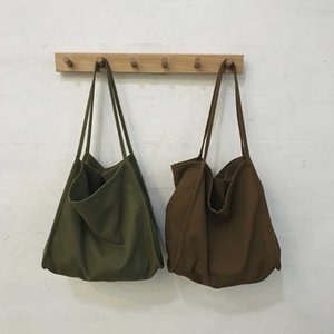 Women's large capacity shopping shoulder bag, casual canvas, solid color, portable, city travel J0526