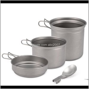 Titanium Cookware Set 1000Ml Pot Pan Spoon For Outdoor Camping Hiking Backpacking Picnic Cooking Equipment Tableware Camp Kitchen N42H 5Sbhf