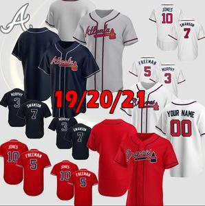 2021 Atlanta 20 Marcell Ozuna Brave Jerseys 5 Freddie Freeman 7 Dansby Swanson 13 Ronald Acuna Jr. 1 Ozzie Alventos Mike Soroka Jersey Top