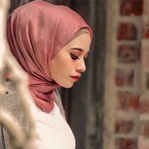 Сатин Crinkled Hijab простой шаль Muna Ombra Hijabs для женщин плиссированные шарфы