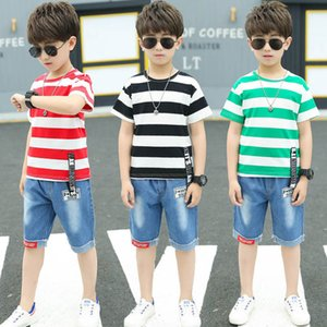 Boys Sets Clothing Kids Suit Children Outfits Summer Striped Cartoon Short Sleeve T-shirts Jeans Shorts 2Pcs Casual Teenage Child 4-12Y B4763