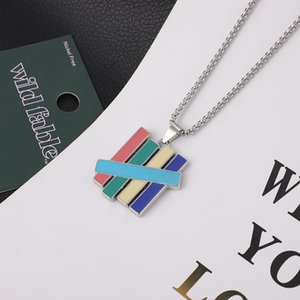 Fashion Brand Colorful Five Bar Stainless Steel Necklace for Men and Women