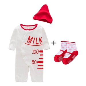 Rompers Baby Bodysuits Onesies Toddler Jumpsuit New Born Girl Clothes Cotton Long Sleeve Socks Hats 3Pcs Sets B4523