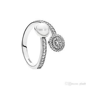 Beyaz Kristal Inci Temizle CZ Elmas 925 Ayar Gümüş Yüzük Seti Orijinal Kutusu için Pandora Aydınlık Glow Yüzük Kadınlar Kızlar Düğün Takı