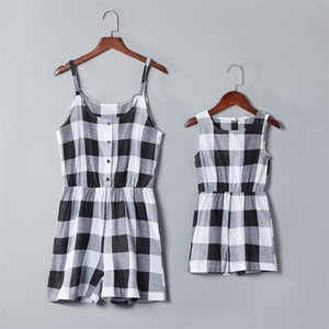Mother Daughter Family Matching Outfits Clothes Plaid Parent-child Dress Baby Girls Mom Romper Fashion Summer Women Kids Costume 907 Y2