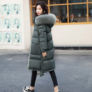 2020 New Winter Women Duck Down Coat Female Real Natural Fur Collar Female Hooded Warm Thick Solid Long Oversize Parkas S132