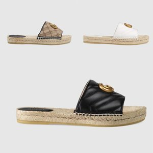 Designer summer platform casual sandals fashion golden letter logo flat bottom ladies fisherman shoes leather hemp rope grass lace woven large size 35-42