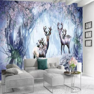 3d Modern Wallpaper Sika deer in the dreamy flower forest Exquisite Painting Mural Living Room Bedroom Home Improvement Wallpapers