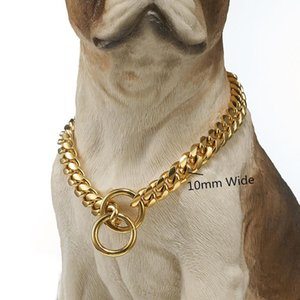 10 12 14 16mm Wide Curb Cuban Miami LinK Dog Collars Gold Tone 316L Stainless Steel Pet Training Choke For Large Chains