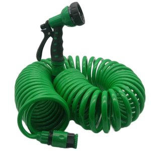 Watering Equipments Flexible Coiled Spiral Garden Car Washing Clean Water Hose With Spray Nozzle For Household Wash