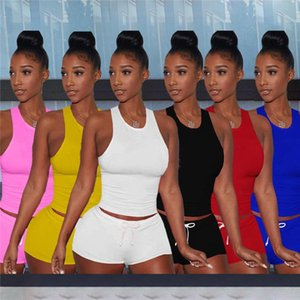 Wholesale летние женские трексески без рукавов танк топ шорты наряды 2 кусок набор женщин одежда повседневная спортивная одежда спортивный костюм продает KLW6546