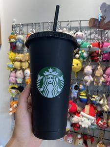 Starbucks Mugs 24oz 710ml Plastic Tumbler Reusable Black Drinking Flat Bottom Pillar Shape Lid Straw Cups Free DHL
