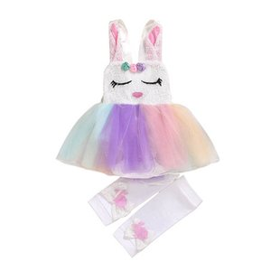 Clothing Sets Unicorn Girls Outfits Baby Clothes Suits Sequin Toddler Child Summer Lace Rompers Shorts 2Pcs 0-18M B4497