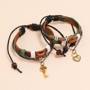 Heart Key Lock Gold Charm Bracelet String Adjustable Multi Layer Wrap Leather Couple Bracelets Wristband Bangle Cuff for Women Men Fashion Jewelry Set Will and Sandy