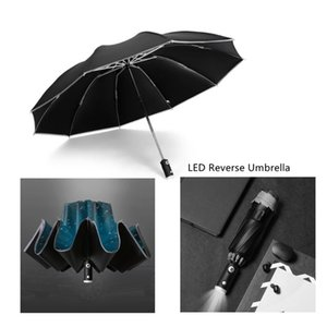 Umbrellas Auto Open Close Light-emitting LED Reverse Umbrella Travel Ten-bones Three-folding Automatic Business With Light