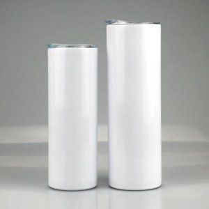 20oz 30oz Sublimation Straight Skinny Tumbler Stainless Steel Blank White Slim Cup With Lid Metal Straw Cylinder Water Bottle Coffee
