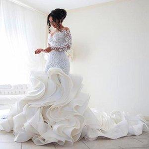 Steven Khalil Luxury Ruffles Train Catedral Train Sirena Vestidos nupciales con mangas largas Middle East Plus Tamaño Lace Organza Vestidos de novia