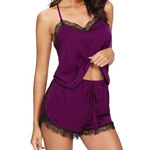 Damenmeerwäsche Sexy Spitze Pyjamas für Frauen Sommer Sleeveless Spaghetti Strap Pyjamas Satin Cami Top + Shorts Sets Nachtwäsche