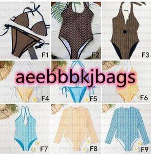 Yellow Blue Full Letter Swimsuits Padded Push Up Women's Swimwear Bikini Set Outdoor Beach Swimming Bandage One-piece Bathing suit
