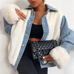 Xingqing Women Denim Jacket Winter Adults Single Breasted Long Sleeve Top Patchwork Outerwear Stylish Warm Ladies Coats Jackets1
