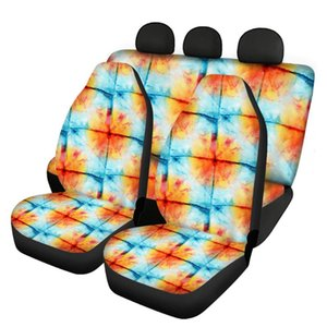 Automobile Cushion Pad Seat Cover Durable Car Interior Accessories Green Tie Dye Print Universal Vehicle Protector Chair Covers