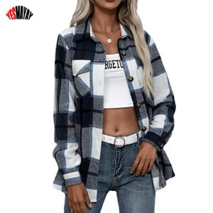 Women's Blouses & Shirts 2021 Plaid Women Autumn Winter Cardigan Tops Coat Fashion Ladies Lapel Thick Long Sleeved Casual Shirt For Female