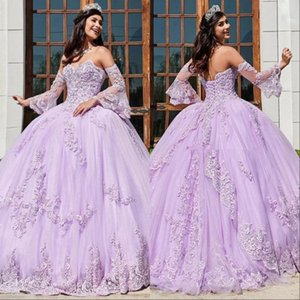 2021 Lavender Lace Beaded Ball Gown Quinceanera Dresses Sweetheart Neck Tulle Appliqued Prom Gowns With Wrap Sweep Train
