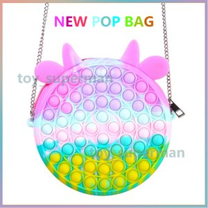 Fidget Toys Bag Cartoon Candy Color Push Bubble Sensory Squishy Stress Reliever Autism Needs Anti-stress Rainbow Toy For Children Adult