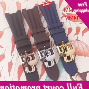Watchband 25mm Black Blue Waterproof Diving Silicone Rubber Watch Band Straps with Deployment Clasp for Nautilus 5711 5712