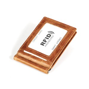 Fashion Solid Mens Thin Bifold Money Clip Genuine Leather Wallet with Metal Clamp RFID Male Credit Card Purse Coin Holder Men