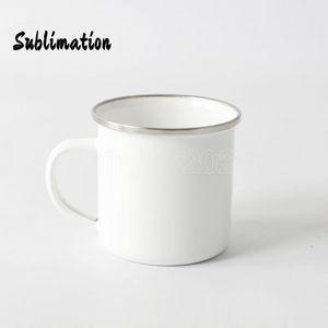 DIY Sublimation 12oz Enamel Mug with Silver Rim 350ml Stainless Steel Enamelled Cup Handle Blank Tooth Tumblers Water Coffee