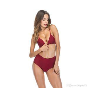 2019 Deux pièces Sexy Sexy Backless Gallus Maillot de bain Taille Haute Maillot de bain Femme Beachwear Postume de bain Suit Summer Skin costume Monokini Beach usure