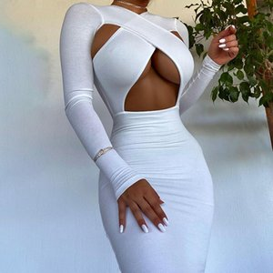 Casual Dresses 2021 Fashion Sexy Women's Party Long Sleeve Bodycon Dress Solid Color Cross Hollow Autumn Mid-length Black White