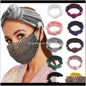 Other Event Party Supplies Headband Scrunchie With Mask Buckle For Nurse Doctor Fashion Bandeau Hairs Tie Elastic Hairbands Hair Acces Trky5