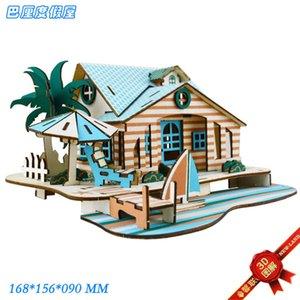 Bali Resort House Building 3d Three-dimensional Laser Upgrade 2 Cm Board Puzzle Wooden Model Children's V6UG730