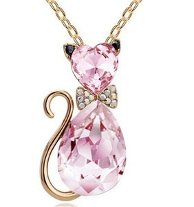 Pretty Crystal Cat Necklace Women Clavicle Chain Necklace Cute Cat Pendant Chain Austrian Crystal Necklace 135 M2