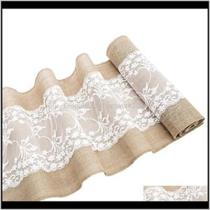 Vintage Table Runner Natural Hessian Burlap With White Lace For Rustic Festival Wedding Party Baptism Decoration 30Cm X 275Cm Ghaot K1Ilk