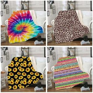 Sherpa Blanket 150*130cm sunflower floral striped leopard 3D Printed Kids Winter Plush Shawl Couch sofa throw Fleece Wrap cape LJJA2961