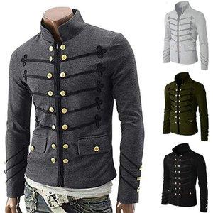 2021 Vintage Solid Men Jacket Steampunk Tunic Rock Frock Uniform Male Vintage Punk Metal Coat Outwear