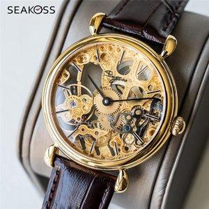 Relógio Mecânico Super Mecânica de Sakoss Men 1963 Seagull St36 Movimento Safira Relógio Homens de Couro de Luxo Masculino