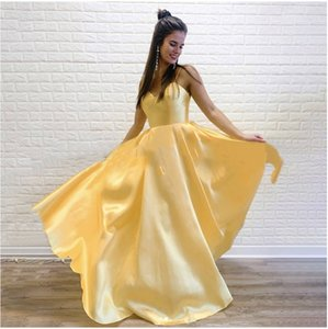 2021 New Arrival Lovely Yellow Puffy A Line Prom Dresses Long For Young Women Sweetheart Spaghetti Strap Party Gown