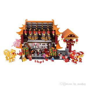3027pcs Building Block Chinese Spring Festival Family Reunion Dinner Classic kits Model Lion Dragon Dance Toys For Children 03