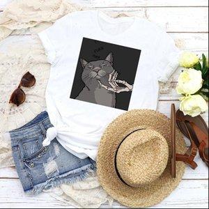 Women Graphic Womens Tops Cat Funny Summer Autumn Cute Cartoon Printed 90s Print Female T Shirt Tees Clothing