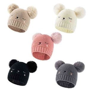 2021 Winter Warm Newborn Baby Cute Knitted Hat Solid Color Double Ball Acrylic Embroidered Children's Crochet Hats Outdoor Kids Beanie Skull Cap G99JVW3