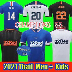 2021 Gasgow Rangers Home Dritter Auswärts Champions 55 Fussball Trikots Defoe Hagi Morelos Tavernier 20/21 Rangers Football Hemden Männer + Kinder Kit
