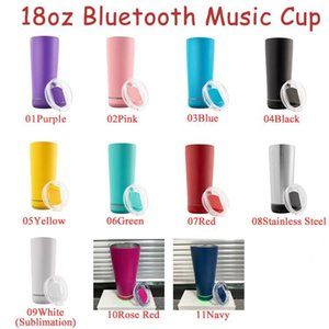 11 Colors 18oz Bluetooth Speaker Tumbler Waterproof Stainless Steel Music Cups Portable Water Bottle with USB Charging Party Supplies